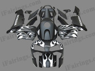 Quality aftermarket fairing kits for 2003 2004 Honda CBR600RR with black and white flame color scheme/graphics. These body kits are 2003 2004 Honda CBR600RR replacement bodywork, they are oem quality, fast shipping and easy installation.