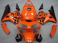 Honda CBR600RR 2003 2004 orange and black flame fairing kits, this Honda CBR600RR 2003 2004 plastics was applied in orange and black flame graphics, this 2003 2004 CBR600RR fairing set comes with the both color and decals shown as the photo.If you want to do custom fairings for CBR600RR 2003 2004,our talented airbrusher will custom it for you.