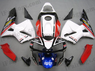 Quality aftermarket fairing kits for 2003 2004 Honda CBR600RR with CARRERA color scheme/graphics. These body kits are 2003 2004 Honda CBR600RR replacement bodywork, they are oem quality, fast shipping and easy installation.