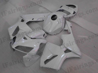 Quality aftermarket fairing kits for 2003 2004 Honda CBR600RR with white color scheme/graphics. These body kits are 2003 2004 Honda CBR600RR replacement bodywork, they are oem quality, fast shipping and easy installation.