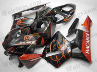 OEM factory quality fairings and body kits for 2005 2006 Honda CBR600RR with black and orange BACARDI color scheme/graphics, this oem replacement fairing sets are oem quality, fast shipping and easy installation. The 2005 2006 CBR600RR fairings can also be customized.