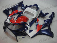 OEM quality fairings and body kits for 2000 2001 Honda CBR929RR with red,white and blue color scheme/graphics, these fairing kits are oem quality, fast shipping and easy installtion. More factory color-matched fairings for CBR929RR 2000 2001, team race replica fairings and custom fairing sets for Honda CBR929RR 2000 2001, please browse iFairings.com.