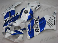 Honda CBR1000RR 2004 2005 Repsol fairing kits, this Honda CBR1000RR 2004 2005 plastics was applied in Repsolgraphics, this 2004 2005 CBR1000RR fairing set comes with the both color and decals shown as the photo.If you want to do custom fairings for CBR1000RR 2004 2005,our talented airbrusher will custom it for you.