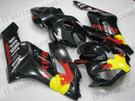 Honda CBR1000RR 2004 2005 red bull fairing kits, this Honda CBR1000RR 2004 2005 plastics was applied in red bullgraphics, this 2004 2005 CBR1000RR fairing set comes with the both color and decals shown as the photo.If you want to do custom fairings for CBR1000RR 2004 2005,our talented airbrusher will custom it for you.