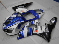 OEM quality fairings and body kits for 1998 1999 Yamaha YZF-R1 with white and blue color scheme/graphics, these fairing kits are oem quality, fast shipping and easy installtion. More factory color-matched fairings for YZF-R1 1998 1999, team race replica fairings and custom fairing sets for Yamaha YZF-R1 1998 1999, please browse iFairings.com.