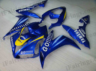 OEM quality fairings and body kits for 2004 2005 2006 Yamaha YZF-R1 with blue GO!!! color scheme/graphics, these fairing kits are oem quality, fast shipping and easy installtion. More factory color-matched fairings for YZF-R1 2004 2005 2006, team race replica fairings and custom fairing sets for Yamaha YZF-R1 2004 2005 2006, please browse iFairings.com.