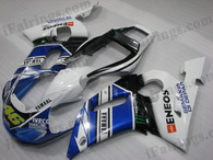 OEM quality fairings and body kits for 1998 1999 2000 2001 2002 Yamaha YZF-R6 with Valentino Rossi replica color scheme/graphics, these fairing kits are oem quality, fast shipping and easy installtion. More factory color-matched fairings for YZF-R6 1998 1999 2000 2001 2002, team race replica fairings and custom fairing sets for Yamaha YZF-R6 1998 1999 2000 2001 2002, please browse iFairings.com.