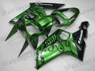 OEM quality fairings and body kits for 2003 2004 Kawasaki ZX6R Ninja with green and black flame color scheme/graphics, these fairing kits are oem quality, fast shipping and easy installtion. More factory color-matched fairings for ZX6R Ninja 2003 2004, team race replica fairings and custom fairing sets for Kawasaki ZX6R Ninja 2003 2004, please browse iFairings.com.