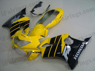 Honda CBR600 F4 1999 2000 yellow/black fairing kits, 1999 2000 Honda CBR600 F4 yellow/black plastic.This Honda CBR600 F4 1999 2000 fairing kits was applied in yellow/black graphics, this 1999 2000 CBR600 fairing set comes with the both color and decals shown as the photo.If you want to do custom fairings for CBR600 F4 1999 2000,our talented airbrusher will custom it for you