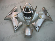 OEM quality fairings and body kits for 2003 2004 Kawasaki ZX6R Ninja with silver color scheme/graphics, these fairing kits are oem quality, fast shipping and easy installtion. More factory color-matched fairings for ZX6R Ninja 2003 2004, team race replica fairings and custom fairing sets for Kawasaki ZX6R Ninja 2003 2004, please browse iFairings.com.