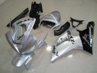 OEM quality fairings and body kits for 2003 2004 Kawasaki ZX6R Ninja with silver and black color scheme/graphics, these fairing kits are oem quality, fast shipping and easy installtion. More factory color-matched fairings for ZX6R Ninja 2003 2004, team race replica fairings and custom fairing sets for Kawasaki ZX6R Ninja 2003 2004, please browse iFairings.com.