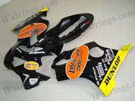 Honda CBR600 F4 1999 2000 HM plant fairing kits, 1999 2000 Honda CBR600 F4 HM plant plastic.This Honda CBR600 F4 1999 2000 fairing kits was applied in HM plant graphics, this 1999 2000 CBR600 fairing set comes with the both color and decals shown as the photo.If you want to do custom fairings for CBR600 F4 1999 2000,our talented airbrusher will custom it for you