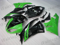 OEM quality fairings and body kits for 2009 2010 2011 2012 Kawasaki ZX6R ZX636 Ninja with green and black color scheme/graphics, these fairing kits are oem quality, fast shipping and easy installtion. More factory color-matched fairings for ZX6R ZX636 Ninja 2009 2010 2011 2012, team race replica fairings and custom fairing sets for Kawasaki ZX6R ZX636 Ninja 2009 2010 2011 2012, please browse iFairings.com.