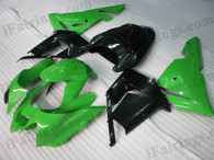 OEM quality fairings and body kits for 2004 2005 Kawasaki ZX10R with green and black color scheme/graphics, these fairing kits are oem quality, fast shipping and easy installtion. More factory color-matched fairings for ZX10R 2004 2005, team race replica fairings and custom fairing sets for Kawasaki ZX10R 2004 2005, please browse iFairings.com.