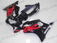 Honda CBR600 F4 1999 2000 glossy black fairing kits, 1999 2000 Honda CBR600 F4 glossy black plastic.This Honda CBR600 F4 1999 2000 fairing kits was applied in glossy black graphics, this 1999 2000 CBR600 fairing set comes with the both color and decals shown as the photo.If you want to do custom fairings for CBR600 F4 1999 2000,our talented airbrusher will custom it for you