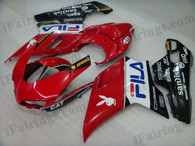 OEM quality fairings and body kits for Ducati 848/1098/1198 with red/black FILA scheme color scheme/graphics, these fairing kits are oem quality, fast shipping and easy installtion. More factory color-matched fairings for Ducati 848/1098/1198, team race replica fairings and custom fairing sets for Ducati 848/1098/1198, please browse iFairings.com.