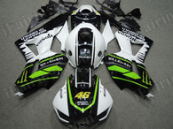 OEM quality replacement fairing sets for Honda CBR600RR 2013 2014 in white and black with green strips. The fairing kits are injection molds made and 100% precisely fit Honda Factory bike. All Honda Repsol decals/stickers are applied on the fairings. Custom painting job is acceptable.