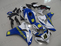 OEM quality replacement motorcycle fairing sets for Honda CBR1000RR 2008 2009 2010 2011 with HANNspree graphic. This fairing kit was sprayed blue and white color scheme with HANNspree decals/stickers applied. This custom fairing was made based on HANNspree team race graphic.