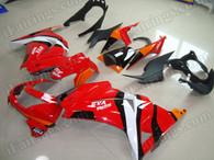 Motorcycle fairing kits for Kawasaki Ninja 250R EX250 2008 to 2012 in red color. This fairing is a customized color scheme and the it can be switched to any other color, such as orange and black, matte black and silver.etc.