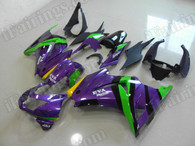Motorcycle fairing kits for Kawasaki Ninja 250R EX250 2008 to 2012 in purple and green color. This fairing is a customized color scheme and the it can be switched to any other color, such as orange and black, matte black and silver.etc.