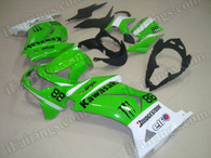 This Kawasaki Ninja250 2008 to 2012 fairing kits was applied in green and white graphics, this 2008 to 2012 Ninja250 fairing set comes with the both color and decals shown as the photo. If you want to do custom fairings for Ninja250 2008 to 2012
