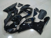 Original quality motorcycle fairings and body kits for Yamaha YZF R1 2000 2001 in glossy black only. This fairing was sprayed glossy black without any decals, logos or sponsors. This fairing can be made matte black, pearl white or add any stickers as your wish.
