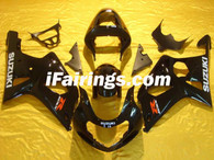 Suzuki GSXR1000 2000 2001 2002 glossy black fairing kits, this Suzuki GSXR1000 2000 2001 2002 plastics was applied in glossy black graphics, this 2000 2001 2002 GSXR1000 fairing set comes with the both color and decals shown as the photo.If you want to do custom fairings for GSXR1000 2000 2001 2002,our talented airbrusher will custom it for you.