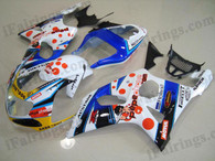 Suzuki GSXR1000 2000 2001 2002 pepe phone fairing kits, this Suzuki GSXR1000 2000 2001 2002 plastics was applied in pepe phone graphics, this 2000 2001 2002 GSXR1000 fairing set comes with the both color and decals shown as the photo.If you want to do custom fairings for GSXR1000 2000 2001 2002,our talented airbrusher will custom it for you.
