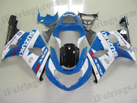 Suzuki GSXR1000 2000 2001 2002 blue and white fairing kits, this Suzuki GSXR1000 2000 2001 2002 plastics was applied in blue and white graphics, this 2000 2001 2002 GSXR1000 fairing set comes with the both color and decals shown as the photo.If you want to do custom fairings for GSXR1000 2000 2001 2002,our talented airbrusher will custom it for you