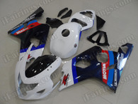aftermarket fairings and bodywork for 2004 2005 Suzuki GSX R 600/750, this motorcycle fairings are replacement plastic with various graphics,  they are top quality and oem fairing quality comparable. All the bodywork panels are pre-drilled and 100% precise fit factory bike.