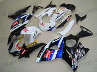 Suzuki GSXR1000 2009 2010 white and black fairing kits, this Suzuki GSXR1000 2009 2010 plastics was applied in white and black graphics, this 2009 2010 GSXR1000 fairing set comes with the both color and decals shown as the photo.If you want to do custom fairings for GSXR1000 2009 2010,our talented airbrusher will custom it for you.