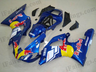 Yamaha YZF-R1 2000 2001 red bull fairing kits, this Yamaha YZF-R1 2000 2001 plastics was applied in red bullgraphics, this 2000 2001 YZF-R1 fairing set comes with the both color and decals shown as the photo.If you want to do custom fairings for YZF-R1 2000 2001,our talented airbrusher will custom it for you.