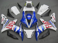 Yamaha YZF-R1 2002 2003 Fiat replica fairing kits, this Yamaha YZF-R1 2002 2003 plastics was applied in Fiat replicagraphics, this 2002 2003 YZF-R1 fairing set comes with the both color and decals shown as the photo.If you want to do custom fairings for YZF-R1 2002 2003,our talented airbrusher will custom it for you.
