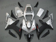 Yamaha YZF-R1 2002 2003 silver and black fairing kits, this Yamaha YZF-R1 2002 2003 plastics was applied in silver and blackgraphics, this 2002 2003 YZF-R1 fairing set comes with the both color and decals shown as the photo.If you want to do custom fairings for YZF-R1 2002 2003,our talented airbrusher will custom it for you.