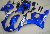 Yamaha YZF-R6 2003 2004 2005 oem matched blue fairing kits, this Yamaha YZF-R6 2003 2004 2005 plastics was applied in oem matched bluegraphics, this 2003 2004 2005 YZF-R6 fairing set comes with the both color and decals shown as the photo.If you want to do custom fairings for YZF-R6 2003 2004 2005,our talented airbrusher will custom it for you.