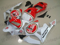 Honda CBR600RR 2003 2004 lucky strike fairing kits, this Honda CBR600RR 2003 2004 plastics was applied in lucky strike graphics, this 2003 2004 CBR600RR fairing set comes with the both color and decals shown as the photo.If you want to do custom fairings for CBR600RR 2003 2004,our talented airbrusher will custom it for you