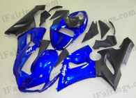 Kawasaki ZX6R 636 2005 2006 blue and black fairing kits, this Kawasaki ZX6R 636 2005 2006 plastics was applied in blue and blackgraphics, this 2005 2006 ZX6R 636 fairing set comes with the both color and decals shown as the photo.If you want to do custom fairings for ZX6R 636 2005 2006,our talented airbrusher will custom it for you.