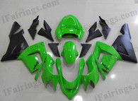 Kawasaki ZX10R 2004 2005 lime green and black fairing kits, this Kawasaki ZX10R 2004 2005 plastics was applied in lime green and blackgraphics, this 2004 2005 ZX10R fairing set comes with the both color and decals shown as the photo.If you want to do custom fairings for ZX10R 2004 2005,our talented airbrusher will custom it for you.