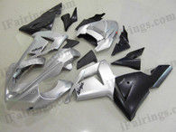 Kawasaki ZX10R 2004 2005 silver and black fairing kits, this Kawasaki ZX10R 2004 2005 plastics was applied in silver and blackgraphics, this 2004 2005 ZX10R fairing set comes with the both color and decals shown as the photo.If you want to do custom fairings for ZX10R 2004 2005,our talented airbrusher will custom it for you.