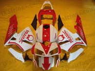 Honda CBR600RR 2003 2004 PRAMAC red/white fairing kits, this Honda CBR600RR 2003 2004 plastics was applied in PRAMAC red/white graphics, this 2003 2004 CBR600RR fairing set comes with the both color and decals shown as the photo.If you want to do custom fairings for CBR600RR 2003 2004,our talented airbrusher will custom it for you.