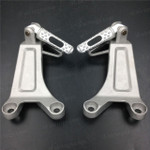 Aluminum alloy made replacement passenger/rear foot pegs and mount bracket assembly for 2003 2004 Honda CBR600RR, these style footrest assembly are light weight than OEM stock footrest and race-inspired design provides excellent traction and feedback. CNC machined from high-impact aluminum for durability and precise fitment.