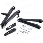 Aluminum alloy made replacement passenger/rear foot pegs and mount bracket assembly for 2004-2007 Honda CBR1000RR, these style footrest assembly are light weight than OEM stock footrest and race-inspired design provides excellent traction and feedback. CNC machined from high-impact aluminum for durability and precise fitment.