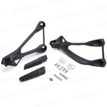 Aluminum alloy made replacement passenger/rear foot pegs and mount bracket assembly for 2005-2008 Kawasaki ZX6R, these style footrest assembly are light weight than OEM stock footrest and race-inspired design provides excellent traction and feedback. CNC machined from high-impact aluminum for durability and precise fitment.