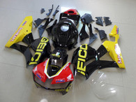 Honda CBR600RR OEM replacement fairings for  sale, it was customkized in red/black/yellow paint scheme and applied GEICO graphics;