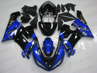 2005 2006 Kawasaki ZX-6R 636 blue and black fairings and body kits.