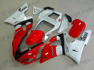 Yamaha YZF-R1 1998 1999 candy red and white fairing kits, this Yamaha YZF-R1 1998 1999 plastics was applied in candy red and whitegraphics, this 1998 1999 YZF-R1 fairing set comes with the both color and decals shown as the photo.If you want to do custom fairings for YZF-R1 1998 1999,our talented airbrusher will custom it for you.