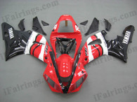 Yamaha YZF-R1 2000 2001 red and black fairing kits, this Yamaha YZF-R1 2000 2001 plastics was applied in red and blackgraphics, this 2000 2001 YZF-R1 fairing set comes with the both color and decals shown as the photo.If you want to do custom fairings for YZF-R1 2000 2001,our talented airbrusher will custom it for you.