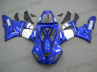 Yamaha YZF-R1 2000 2001 blue and white fairing kits, this Yamaha YZF-R1 2000 2001 plastics was applied in blue and whitegraphics, this 2000 2001 YZF-R1 fairing set comes with the both color and decals shown as the photo.If you want to do custom fairings for YZF-R1 2000 2001,our talented airbrusher will custom it for you.