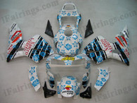Honda CBR600RR 2003 2004 Valentino Rossi fairing kits, this Honda CBR600RR 2003 2004 plastics was applied in Valentino Rossi graphics, this 2003 2004 CBR600RR fairing set comes with the both color and decals shown as the photo.If you want to do custom fairings for CBR600RR 2003 2004,our talented airbrusher will custom it for you