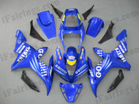 Yamaha YZF-R1 2002 2003 GO!!! replica fairing kits, this Yamaha YZF-R1 2002 2003 plastics was applied in GO!!! replicagraphics, this 2002 2003 YZF-R1 fairing set comes with the both color and decals shown as the photo.If you want to do custom fairings for YZF-R1 2002 2003,our talented airbrusher will custom it for you.